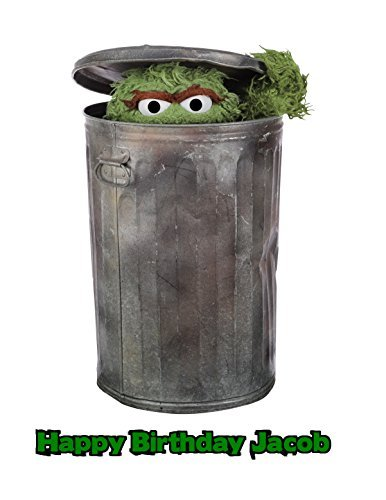 Oscar the Grouch Sesame Street Edible Image Photo Sugar Frosting Icing Cake Topper Sheet Personalized Custom Customized Birthday Party - 1/4 Sheet - -