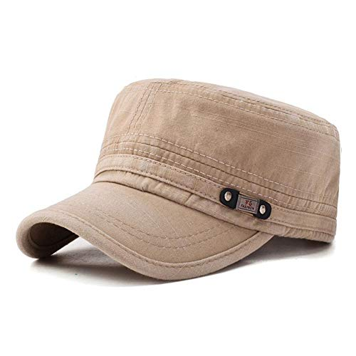 Mens Flat Top Caps Vintage Washed Cotton Adjustable Outdoor Sunscreen Peaked Dad Cap (Khaki)