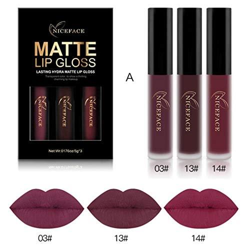 NICEFACE 3pcs 3 Colors Matte Velvety Liquid Lipstick Matte Liquid Lipgloss Waterproof Lip Gloss