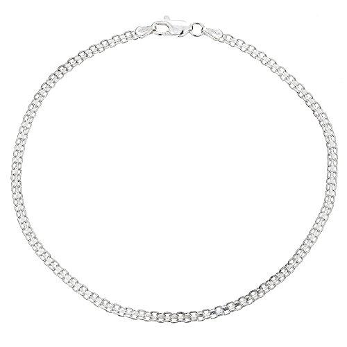 (Ritastephens Sterling Silver Italian Bizmark Chain Bracelet with Lobster Lock 3mm (7