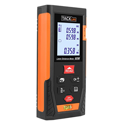 - Tacklife HD60 Classic Laser Measure 196Ft M/In/Ft Mute Laser Distance Meter with 2 Bubble Levels, Backlit LCD and Pythagorean Mode, Measure Distance, Area and Volume - Carry Pouch and Battery Included