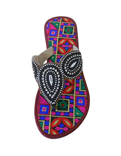 traditionnel Tongs Multi Femme en indien kalra Cuir Creations Color xABqIU