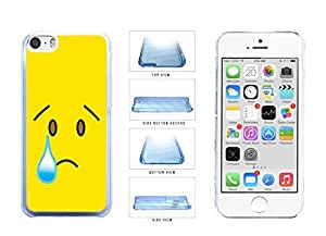 Bright Yellow Sad with Tear Face Clear Plastic Phone Case Back Cover iPhone 5c comes Rosesea Personalized Cellphone