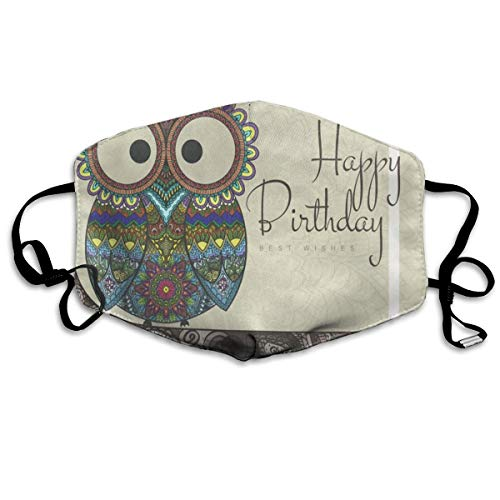 FunnyCustom Mouth Mask Owl with Happy Birthday Face Mask Winter Warmth Healthy Washable for Girls Thanksgiving -
