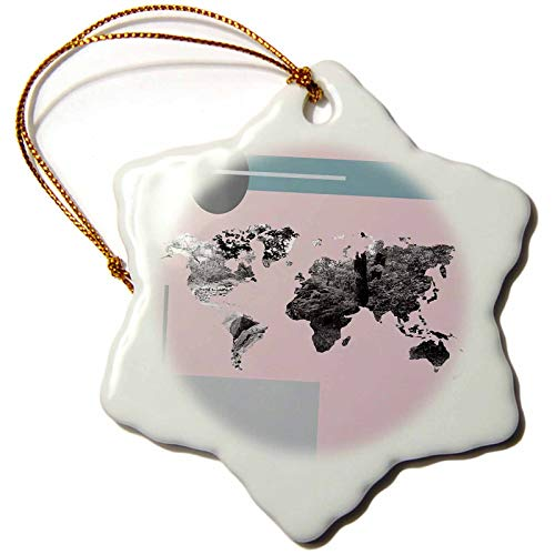 3dRose Made in The Highlands  Vector  Tree World map  Graphical map of The World The World is Full of Trees  3 inch Snowflake Porcelain Ornament ORN_293011_1