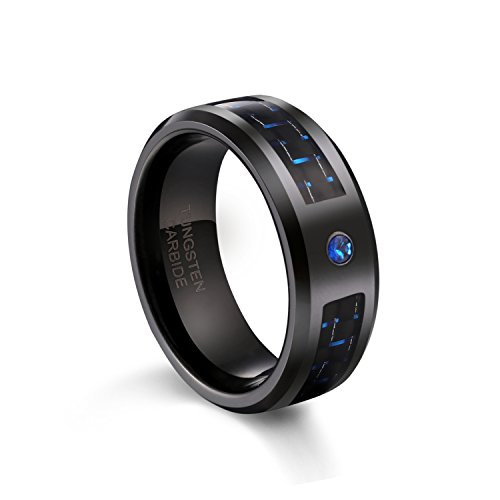 TUSEN JEWELRY 8mm Wedding Band Tungsten Carbide Ring with Black and Blue Carbon Fiber and Blue Zircon with Bevels ()