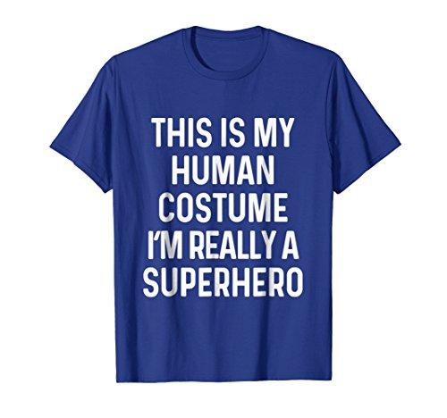 Mens Funny Superhero Costume Shirt Halloween Kids Adult Men Women 2XL Royal Blue