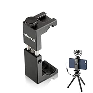 Phone Tripod Mount Holder Metal Aluminum With Cold Shoe Mount 1/4'' Screw Mount For iPhone X 8 7 6 plus Samsung Vlogging Ulanzi ST-2S