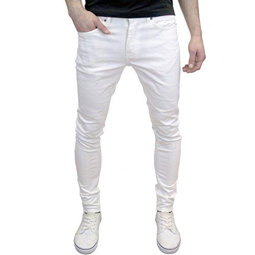Branded Denim (Enzo Mens Designer Branded Super Stretch Skinny Fit Jeans (34W x 32L, White))