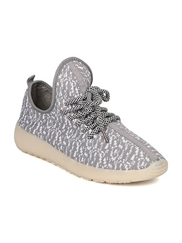 Kids Fabric Two Tone Lace Up Light Up Chargeable Jogger Sneaker GF45 - Grey (Size: Big Kid 4) by Link