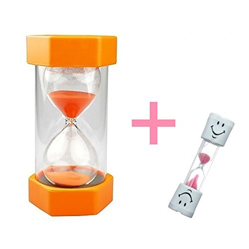 Safe & Simple 5 Minute Sand Timer + Bonus PINK 2 Minute Toothbrush Timer. Large, Durable, Orange Hourglass for Kids + Exclusive Guarantee + Bonuses (Hourglass Simple)