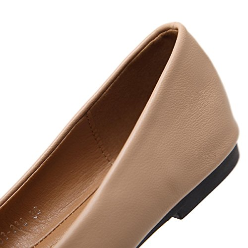 NVXIE Femmes Dames Nouveaux Plats de Loisirs Chaussures Simples Pointe Toe Bain Superficiel Low Rough Heel Pumps Court Chaussures Pierres de Strass Noir Nude Color Fall Spring Party Work NUDE-EUR35UK3 wtPP9vrL9