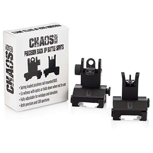Mid Mount Clamp Adjustable (Chaos Ready | Flip Up Iron Sights - Spring Loaded Low Profile Back up Ironsights | Designed for Picatinny 1913 AR Pattern Rails | Co-Witness Front and Rear BUIS Combo Set |)