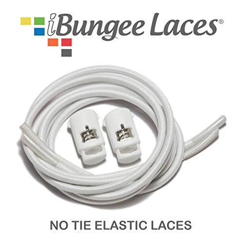 iBungee No Tie Shoelaces (Elastic) (with Shoe Lace Locks) - Premium Stretch Laces - Easy Installation, Sized Bungee (Made in The USA), (White, 34-Inch)