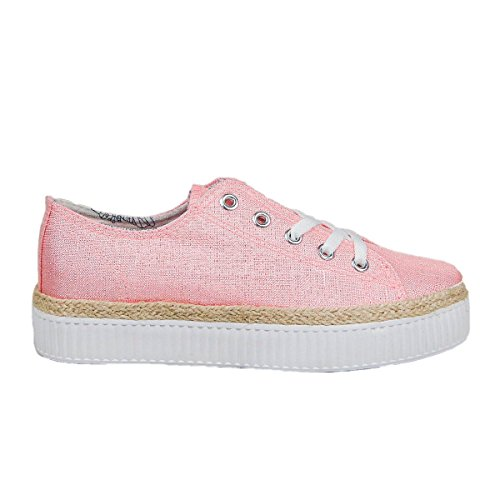 Zapato de lona. Suela en yute y goma. Cierre mediante cordones. Altura de de la suela 4.5 cm. Rosa