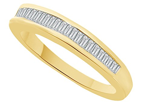 White Natural Diamond Baguette Cut Wedding Band Ring in 10k Solid Yellow Gold (0.15 Cttw) Ring Size - 7 by AFFY