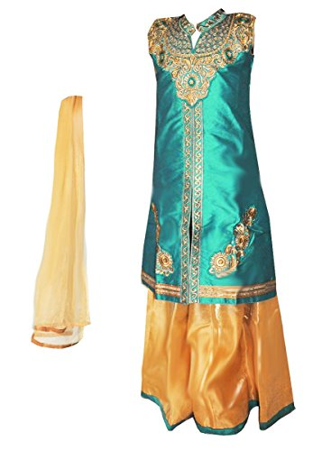 Zaffron Girls' Designer Lehenga Sets 3 Pieces Indian Part Dress Set 3 to 13 Years Sizes (28 (7 Years), Turquoise and Gold) by Zaffron Shop