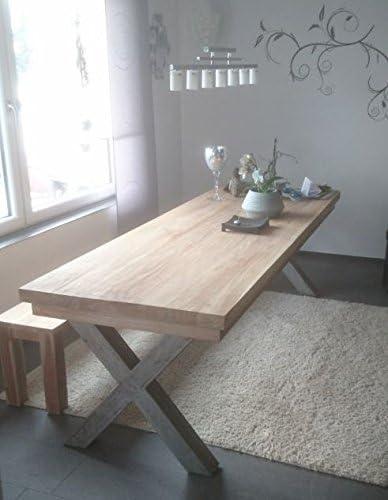 opium outlet Mesa de Comedor Cocina Mesa Dining Table Madera de Teca con Patas Metal con 2 Bancos: Amazon.es: Juguetes y juegos