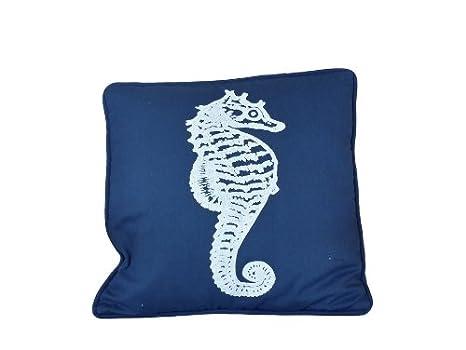 Amazon.com: Azul marino azul y blanco Caballito de Mar ...