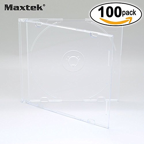 Cd Hub Center (Maxtek Ultra Thin 5.2mm Slim Clear CD Jewel Case with Built In Frost Clear Tray, 100 Pack.)