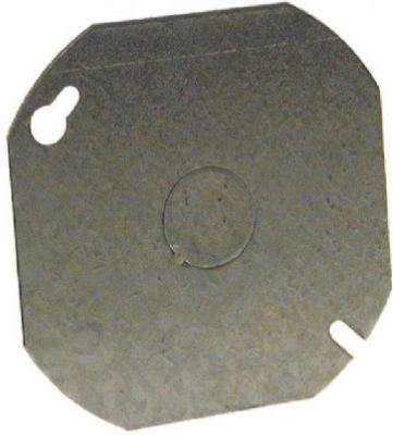 Racoorporated 724 Octagon Cover, Flat, Steel.5-In. Knockout, 4-In. Blank - Quantity 25