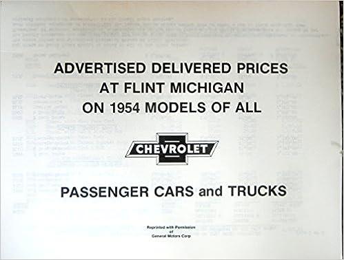 1954 Chevrolet Passenger Cars & Trucks Advertised Delivered