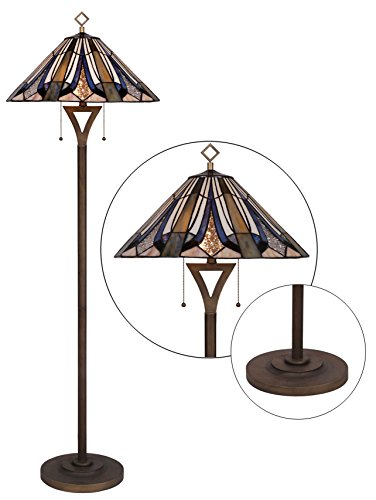 WILSONS LIGHTING WLF203849 Tiffany Style Floor Lamp 63 Inch Height 2-Light 20 Inch Shade ()