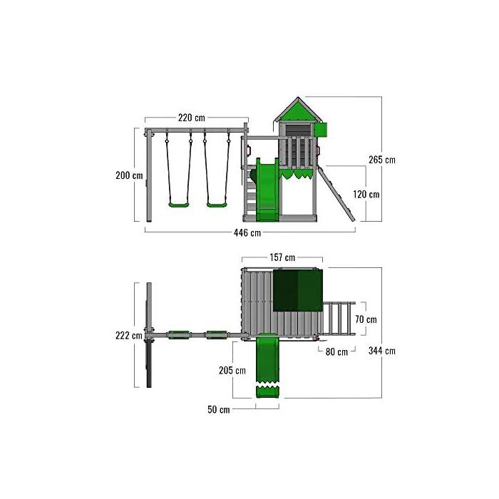 413eZZ03r0L Parque infantil con casita infantil en diseño tropical - Área de juegos da exterior Madera maciza impregnada a presión - Poste de columpio 9x9 cm - Calidad y seguridad aprobada Instrucciones de montaje detalladas - Varias opciones de montaje - Made in Germany