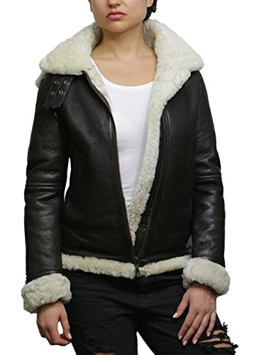 Brandslock Womens Hooded Aviator Real Shearling Sheepskin Flying Leather Jacket Coat (S, Creme)