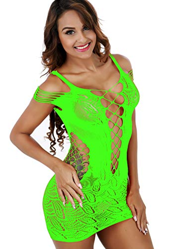 Vorifun Women Fishnet Lingerie See Through Sleepwear One Piece V-Neck Babydoll Mini Dress One Size (Green)