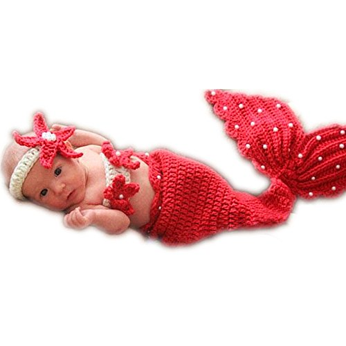 Newborn Girl Costumes (Unique Newborn Girl Costume Knitted Outfits Baby Photography Props Cute Mermaid Set (Red))