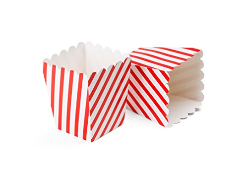 Theater Popcorn Boxes, Red Striped Paper Mini 4