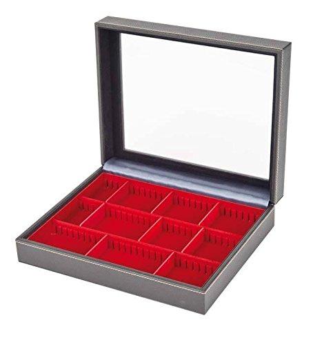 NERA Sammelkassette VARIUS PLUS - mit Sichtfenster [Lindner 2369] Für größere Sammelobjekte, Tableau: 2403E - 3 × 65×280 mm (Rot)