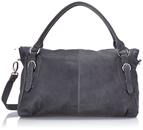 (Piel Leather Large Handbag Cross Body Bag, Charcoal, One Size)