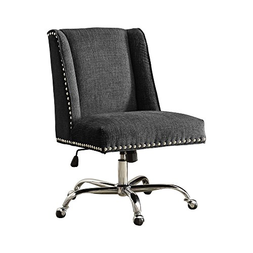 Linon AMZN0244 Clayton Charcoal Office Chair Metallic