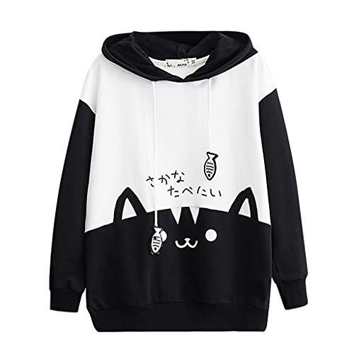 LEKODE Women Sweater Stylish Printed Hoodie Pullover Long Sleeve Sweatshirt(Black,XL) (Cobalt Programming)