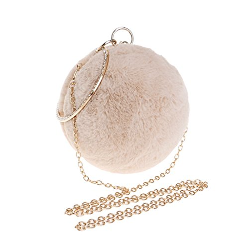 Spherical Evening American And Win Dress Fashion Color Apricot Fur Fly Banquet bag Handbags Fur Red New Bag Evening European Ladies evening Bag Anx6Xvq