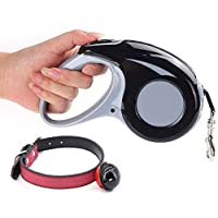 Greengoal Retractable Dog Leash with Dog Collar - 16ft Strong Nylon Tape; Maximum Tension of 110lbs; One-Handed Brake, Pause, Lock; Tangle-Free (Black)