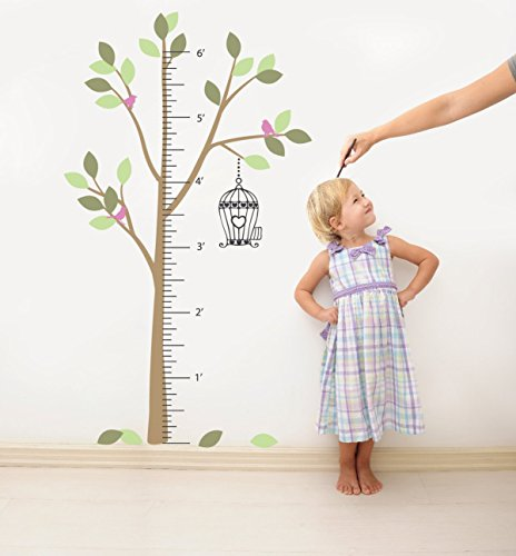 Growth Chart Tree Wall Decal Sticker for Kids Height Ruler with Birdcage and Birds Vinyl Transfer (Color Option 5, 80x46 inches) (Blow Dryer Wall Decal)