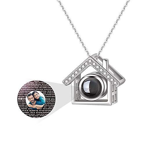 - a266XDKSJK Custom Photo Necklace, 925 Sterling Silver Memory of Love Pendant Necklace,Different Languages I Love You Necklace for Women Girls (Silver Full Color 22)