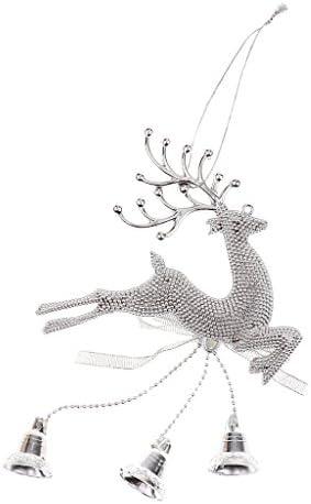 繊細な トナカイ エルク トナカイ 鐘 クリスマスツリー 素敵な ハンギング デコレーション 全3色 - シルバー