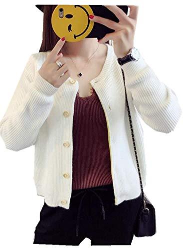 Donna Ragazza Casual Targogo Knit Autunno Outerwear Giacche Beige Maniche Lunghe Breasted Monocromo Elegante A Fashion Giacca Maglia Single Pullover Cappotto zYUWYdq