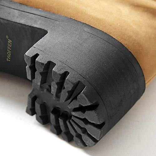 HAOLIEQUAN Größe 34-43 Frauen Stiefel Winter Winter Winter Warme Kniehohe Stiefel Außerhalb Mode Metall Dekoration Flock Runde Kappe Reißverschluss Schuhe Frauen fed879