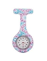 Fashion Floral Silicone Nurse Doctor Clip-on Tunic Brooch Fob Pin Quartz Pendant Pocket Watch #15