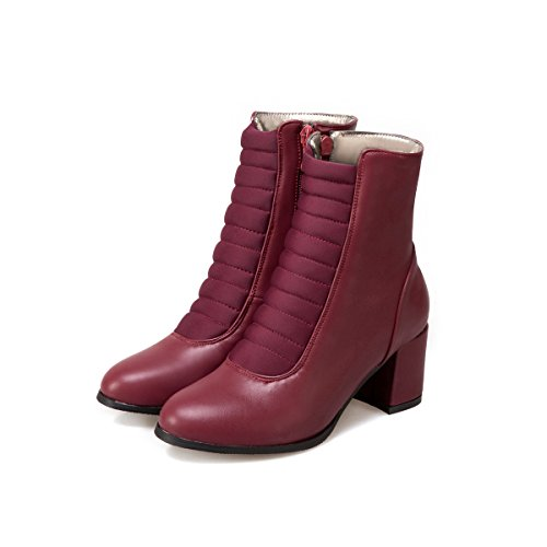 QIN&X La mujer Tacones Talón de bloque corto de cabeza redonda tobillo botas zapatos Wine Red