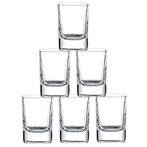JoyJolt 6-Pack Heavy Base Shot Glass Set, 2-Ounce Shot Glasses