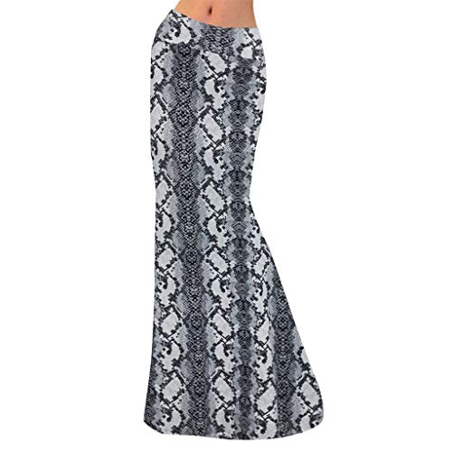 Cardigo Women High Waist Skirt Geometric Stitching Print Bodycon Long Maxi Skirt Gray