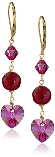 Faceted Fuchsia Agate Bead and Swarovski Elements Bicone and Crystal AB Heart Drop Earrings - Ab Swarovski Crystal Heart Earrings