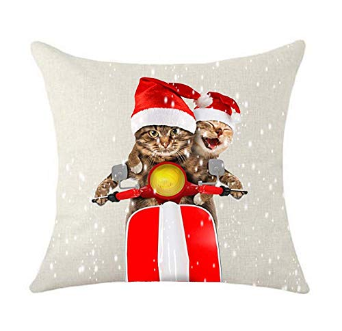 Two Christmas Cats Santa Claus red hat and red Motorcycle Gift Cotton Linen Decorative Throw Pillow Case Cushion Cover Lion Piillow case 18