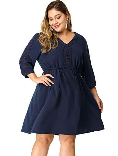 Agnes Orinda Women's Plus Size 3/4 Sleeve Panel Tie Waist V Neck Peasant Dress 3X Blue (Crochet Plus Size Dress)
